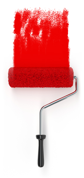 Malerrulle med rødt malingsstrøg på hvid baggrund